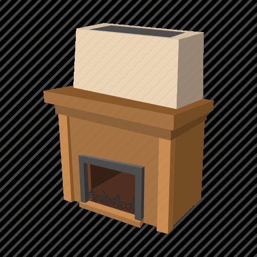 cartoon, decoration, fire, fireplace, home, interior, room icon