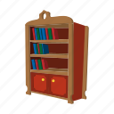 book, bookcase, bookshelf, cartoon, furniture, shelf, wood icon