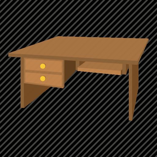 cabinet, cartoon, desk, furniture, interior, office, wood icon