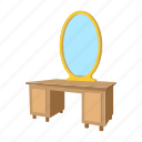 cartoon, decor, dressing, furniture, interior, mirror, table