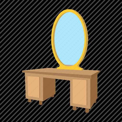 cartoon, decor, dressing, furniture, interior, mirror, table icon