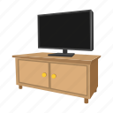 cabinet, cartoon, home, living, room, television, tv