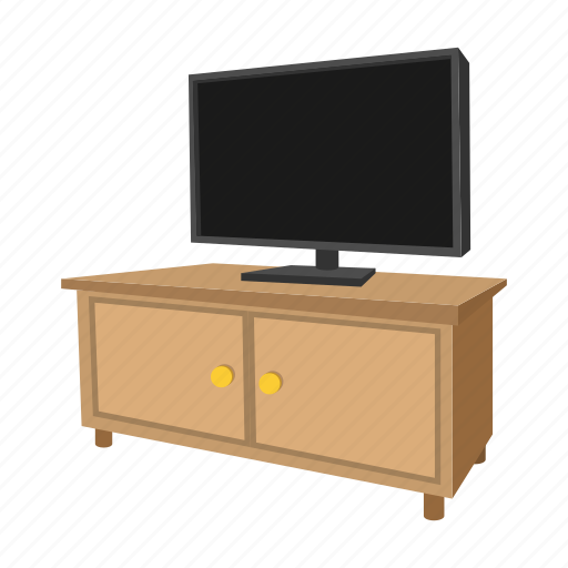 cabinet, cartoon, home, living, room, television, tv icon