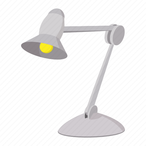 cartoon, desk, electric, equipment, lamp, office, table icon