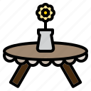 clean, design, flower, furniture, round, table, vase icon
