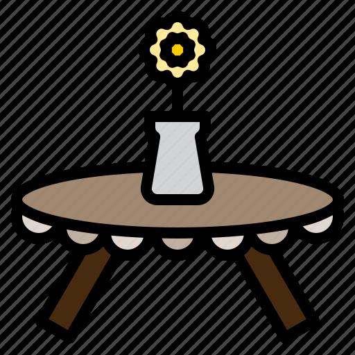 clean, design, flower, furniture, round, table, vase icon
