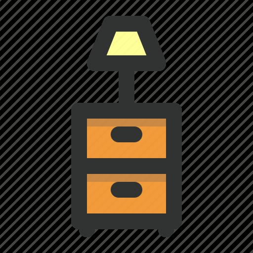 bedroom, desk light, dresser, furniture, lamp icon