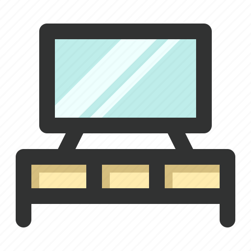 desk, drawer, dresser, furniture, tv icon