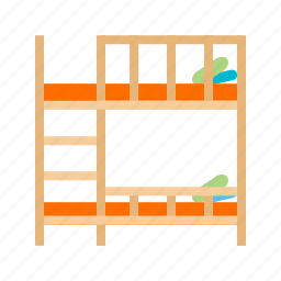 bed, bedroom, beds, bunk, interior, pillow, room icon