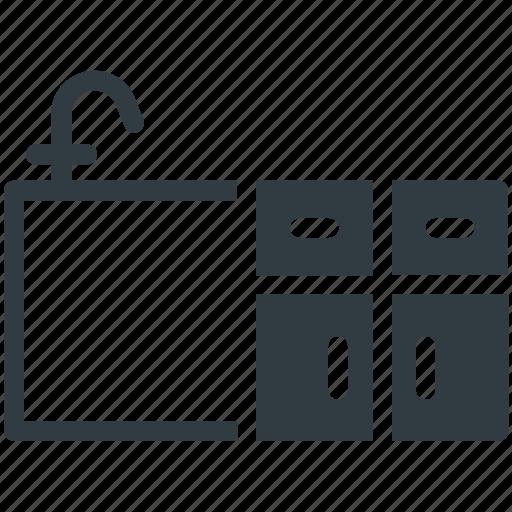 home interior, kitchen cabinet, kitchen furniture, kitchen sink, kitchen unit icon