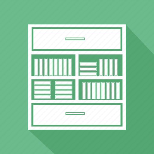 book, book shelf, cabinet, drawer, file, furniture, home interior icon