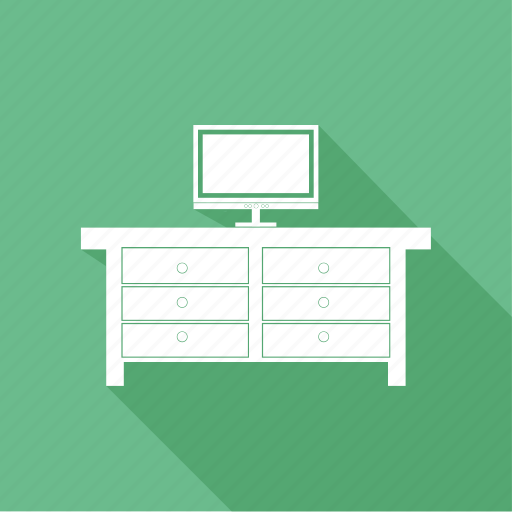 computer, computer desk, computer table, drawer, office, tv icon