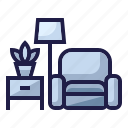 family, furnishing, furniture, home living, household, living room, sofa icon