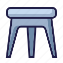 barstool, chair, furnishing, furniture, home living, household, stool icon