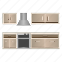 appliance, furniture, home, kitchen, set, kitchen set