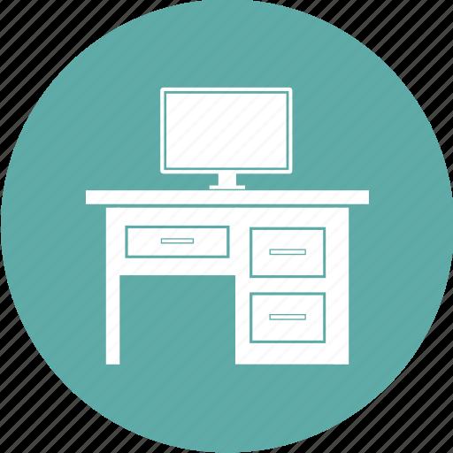 desk, furniture, office, office desk, table icon