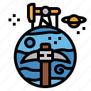 asteroid, exploring, lunar, mining, space icon