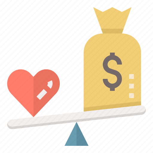 Heart Love Money Pricing Scale Vs Wellness Icon Download On Iconfinder