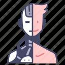 cyborg, face, future, head, human, robot, technology icon