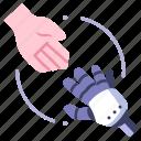 communication, future, hand, human, machine, robot, technology icon
