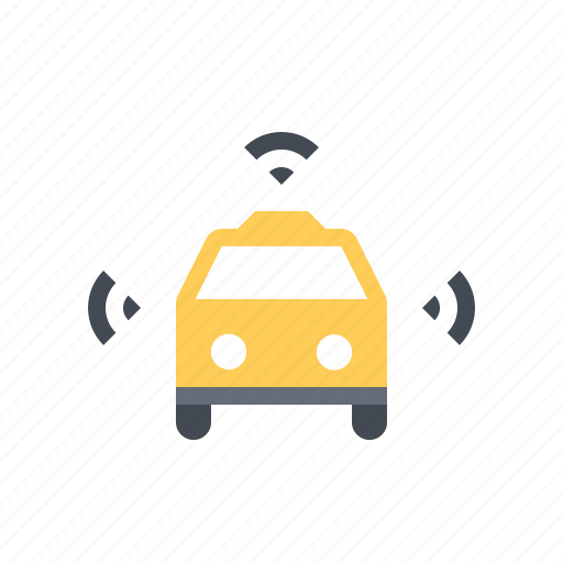 autonomous, cab, connected, driverless, self driving, smart, taxi icon