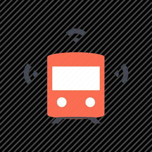 autonomous, connected, driverless, metro, self driving, smart, train icon