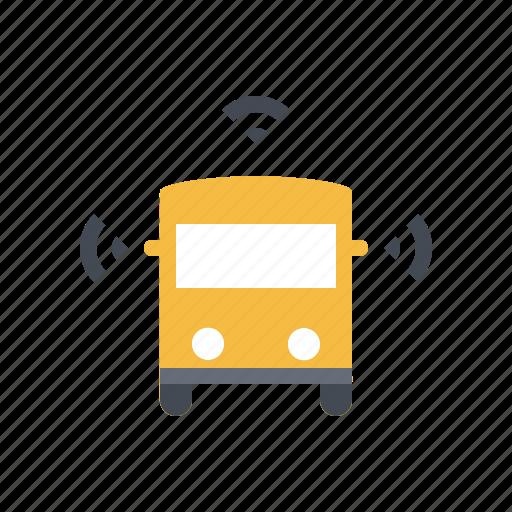 autonomous, bus, connected, driverless, self driving, smart, transportation icon