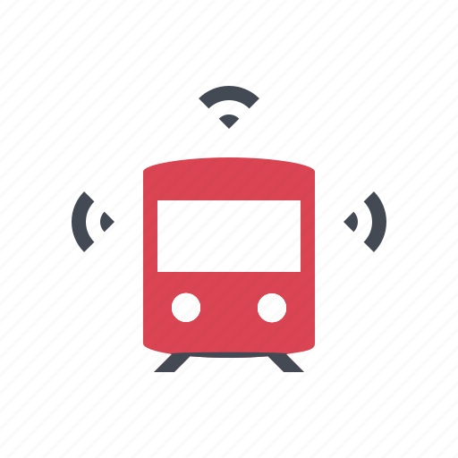 autonomous, connected, driverless, self driving, smart, train, tramway icon