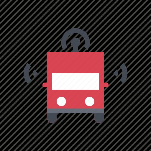 autonomous, connected, driverless, self driving, smart, transportation, truck icon