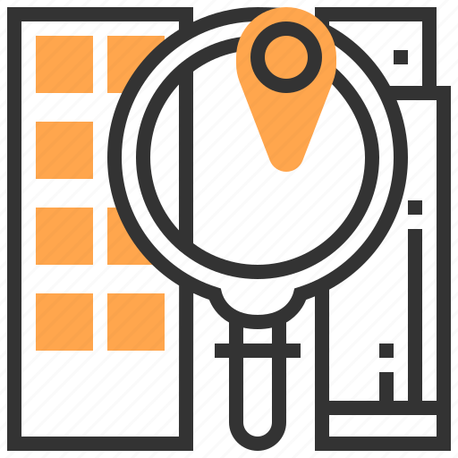 building, future, location, magnify, robotic, search, technology icon
