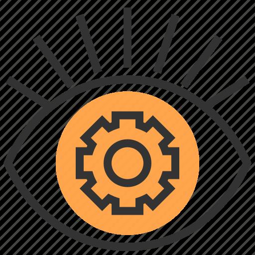 communication, eye, focus, future, network, robotic, technology icon