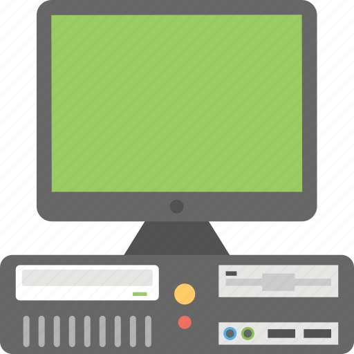 desktop computer, electronic gadget, lcd and cpu, modern pc, personal computer icon