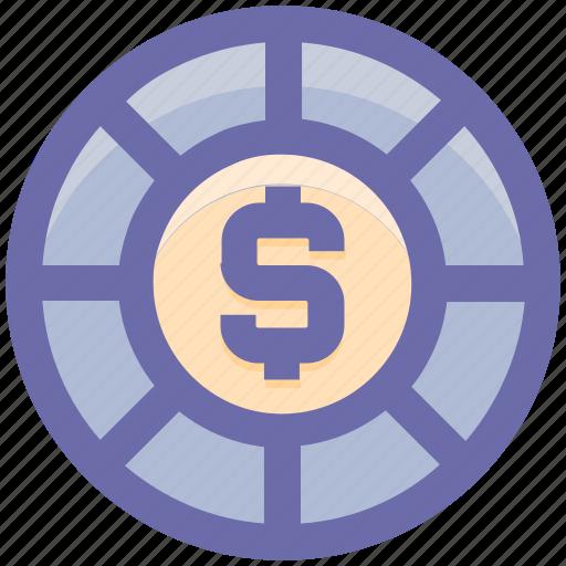 Casino chip, casino dollar chip, dollar sign, gambling, game icon - Download on Iconfinder