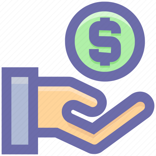 casino chip, dollar, gambling, game, hand holding, hand holding coins icon