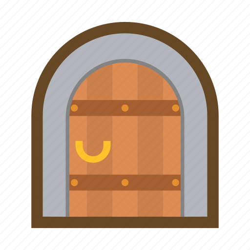 block, castle, door, fortress, gate, lock, security icon