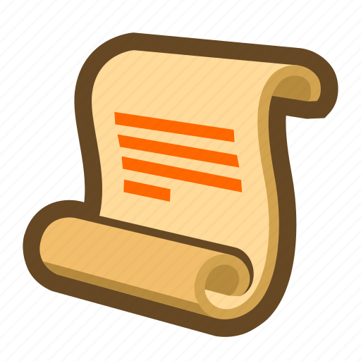document, game, news, notice, paper, scroll icon