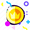 adaptive, coin, game, ios, isolated, king, material design icon
