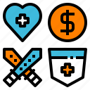 game, heart, item, money, shield, status, weapon icon
