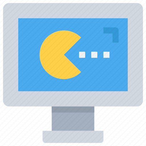 computer, game, gaming, media, pacman icon