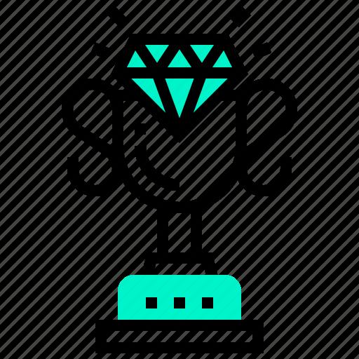 award, champion, diamond, trophy, winner icon