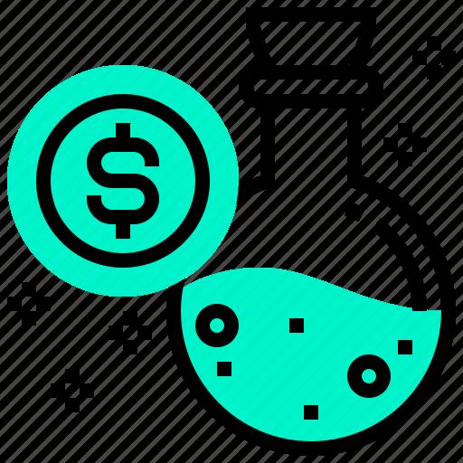 currency, dollars, elixir, money, tube icon