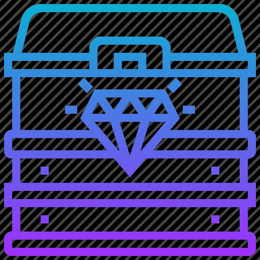 chest, diamond, game, treasure icon