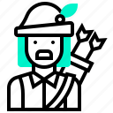 archer, avatar, camouflage, character, hero, hunter, man icon