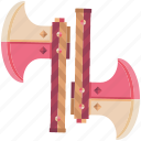 axes, battle, fantasy, game, game item, pink, weapon icon