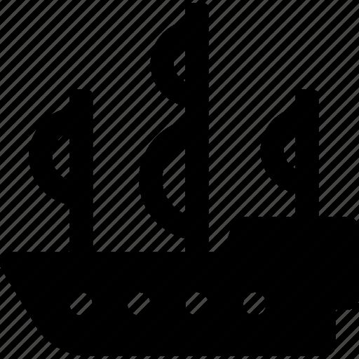 boat, ocean, pirate, sailboat, sails, ship icon