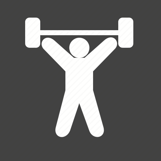 exercise, lifting, person, weight icon