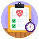 health report, medical record, medical report, heart report, diagnosis report icon