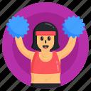 woman cheerleader, cheerleader girl, cheering, dancing girl, pom pom girl icon