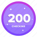 goal, badge, challenge, award, social, checkins, checkin