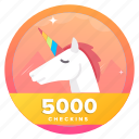 animal, award, badge, check, checkins, goal, unicorn icon